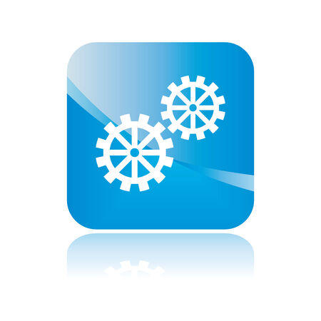 Setting button sign with cogwheel. Isolated blue icon. Vector illustration. illustration