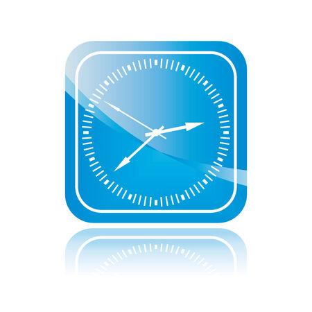 Clock button. Isolated blue icon. Vector illustration. illustration