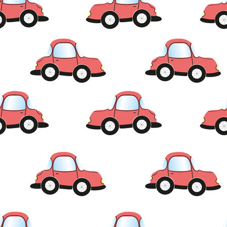 Cartoon car, seamless pattern, vector illustration, wallpaper for childrens rooms illustration