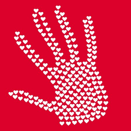 heart in form of hands, red and white, vector Reklamní fotografie - 25937784
