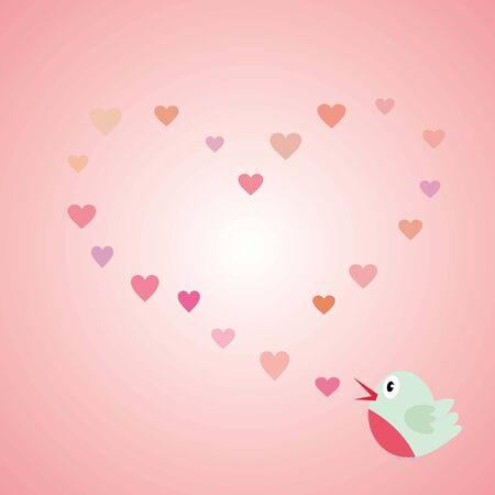 Love bird - Valentines day, light pink, heart, vector