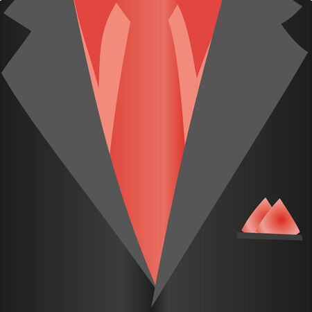 neckcloth: Suit, classic, red shirt, red tie, black jacket in close-up. Business style. Mail costume close-up, background.Vector illustration.