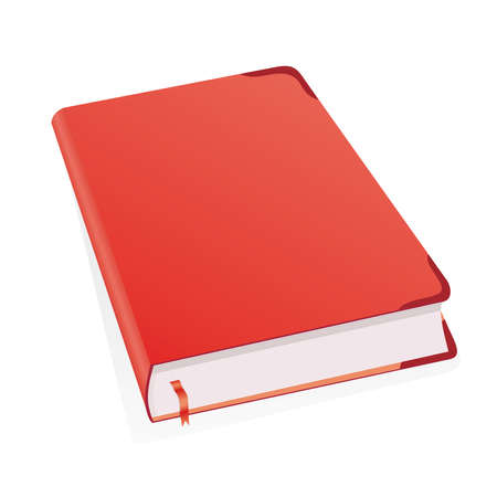 tabbed binder: Diary for business mans, womens, boys and girls with. Book for recording deeds. Copybook in red with a bookmark and shadows. To schedule a businessman. Vector illustration.