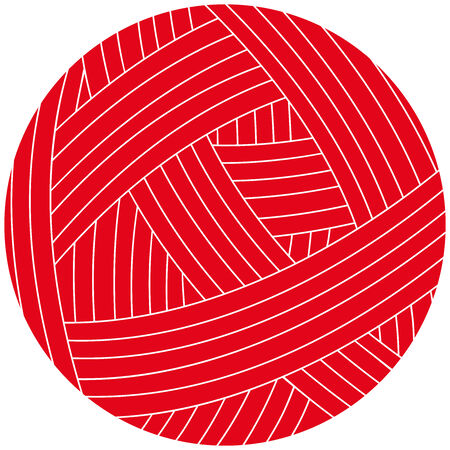 Vector illustration of wool ball. Red clew