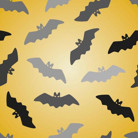 Black bat seamless pattern on yellow. Halloween background. Vector illustration. illustration