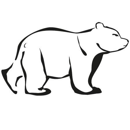 montañas caricatura: esboza oso blanco logo negro