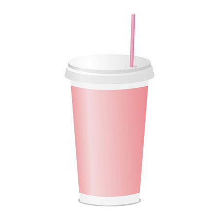 polystyrene: Drinking cup with tube pink color. Plastic fastfood tableware. Vector illustration.