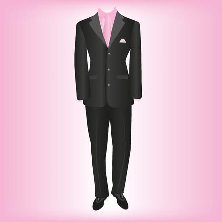 business wear, classic mens suit, vector illustration