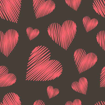 seamless heart's pattern, red and black vector illustration. Valentine's day illustration