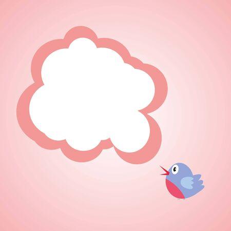 Bird, spicking- Valentines day, light pink, vector