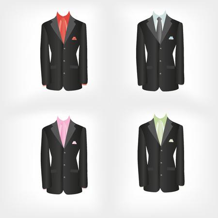 brown shirt: office dress, black jacket, shirt, tie, suit, vector illustration