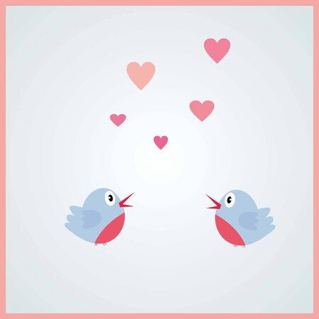 Love bird in the air- Valentines day, light pink, couple, vector Banco de Imagens