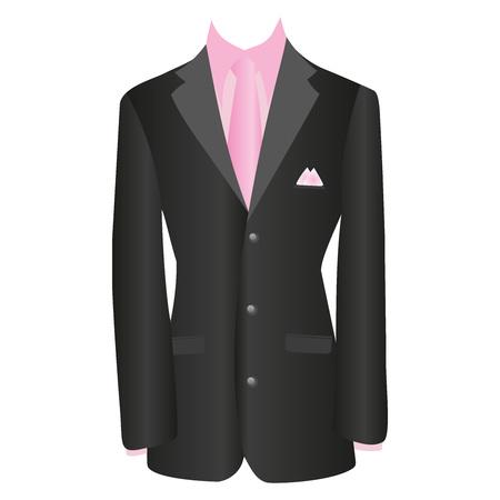 button down shirt: office dress, black jacket, shirt, tie, suit, vector illustration