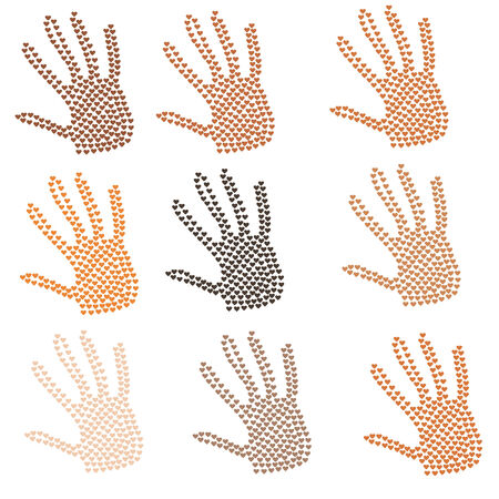 heart in form of hands, different colour of skin, vector Reklamní fotografie - 25941490