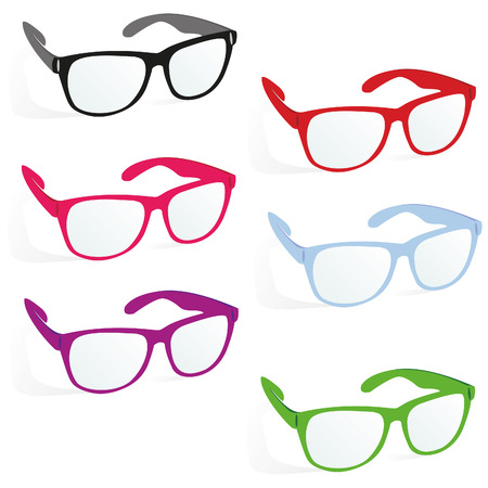 glasses in business style, set, red, black, purple, pinck, blue, green color on a white background with shadow, vector Stock Photo