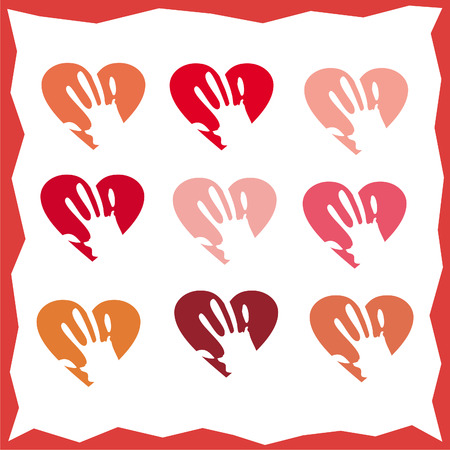 hand holding the heart, set, vector