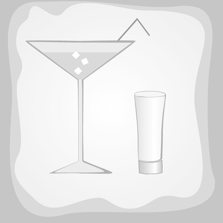 Cocktail and vodka glasses on grey, vector photo