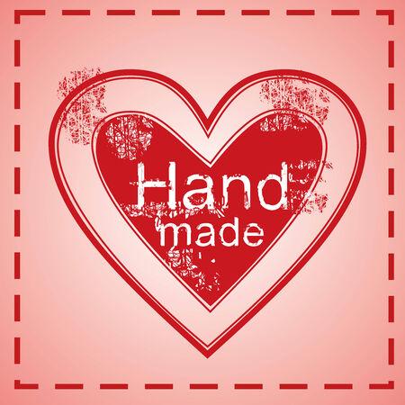 hand made heart stamp, red cloth tag, vector illustration illustration