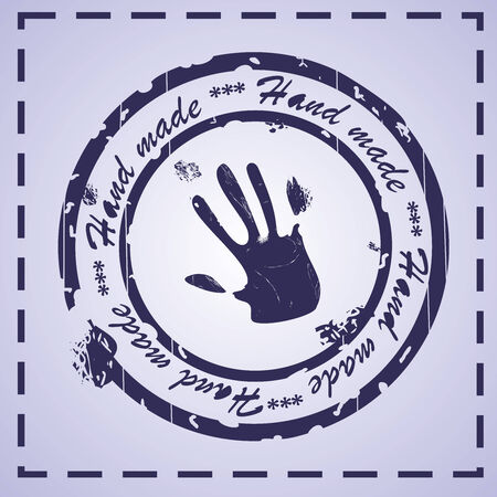 hand made blue stamp, vector illustration illustration