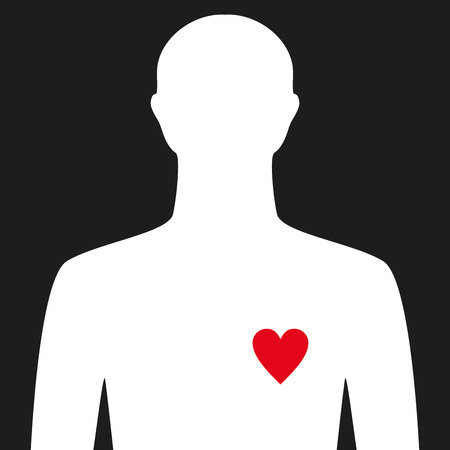 human with heart. Man with feelings in love. Vector illustration. illustration