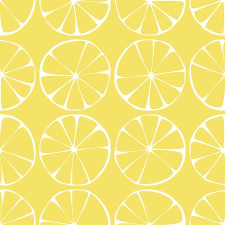 レモンのシームレスなパターンの背景に黄色と白の要素、幾何学的デザイン、ベクトル イラスト
