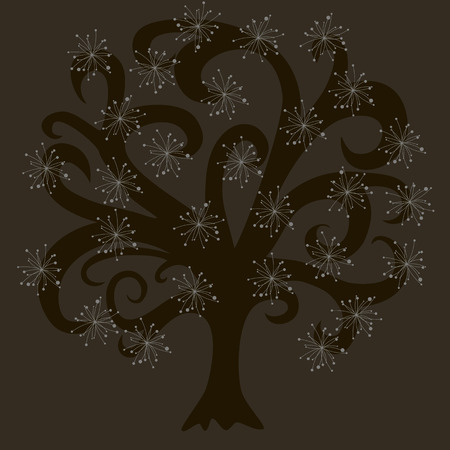 vector tree with white flowers, black wood on dark background, branches, vector pattern Vector