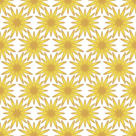 vector background with flowers, seamless pattern with yellow elements, floral geometric design, vector illustration Illustration