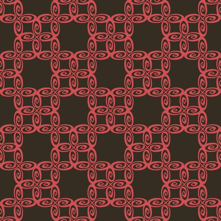 background, seamless pattern with red elements, geometric design, vector illustration Иллюстрация