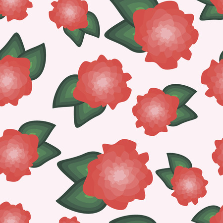 flower background, seamless geometric pattern, green and red floral backdrop, vector illustration