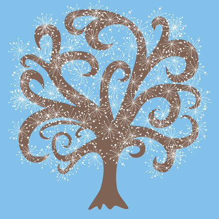 vector tree with white flowers, brown wood on blue background, branches, vector pattern photo
