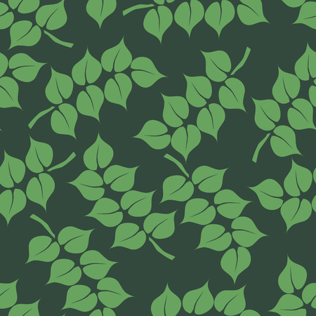 vector background, seamless pattern with  green leafs, geometric design, vector illustration