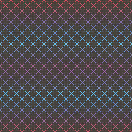 violet red: vector background, abstract seamless pattern with black backdrop and blue, red, violet elements, geometric design, vector illustration Illustration
