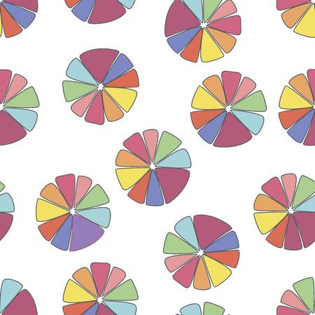 vector achtergrond, abstract naadloze patroon met witte achtergrond en blauw, rood, paars citrus elementen, geometrisch ontwerp, vector illustration