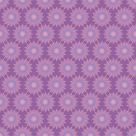 vector background, abstract seamless pattern with violet backdrop and flowers, geometric design, vector illustration Illustration