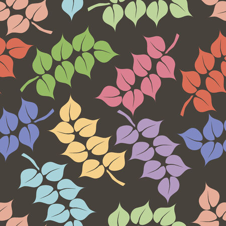 seamless pattern with  red, blue, yellow, green, orange leafs, geometric design photo