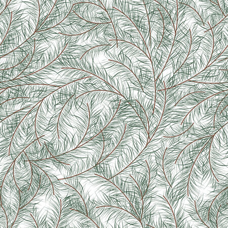 abstract seamless pattern with white backdrop and green branches, geometric design Stock Photo