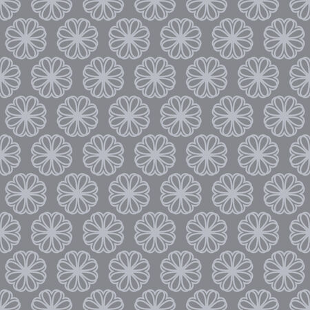 abstract seamless pattern with gray backdrop and flowers, geometric design