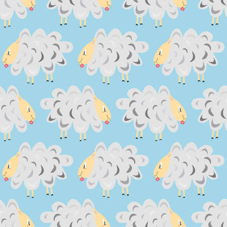 seamless pattern with white sheep that eating a flower Vector