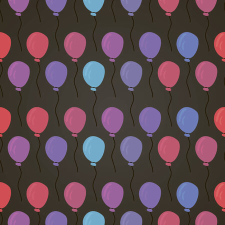 seamless pattern with red, violet, blue balloon