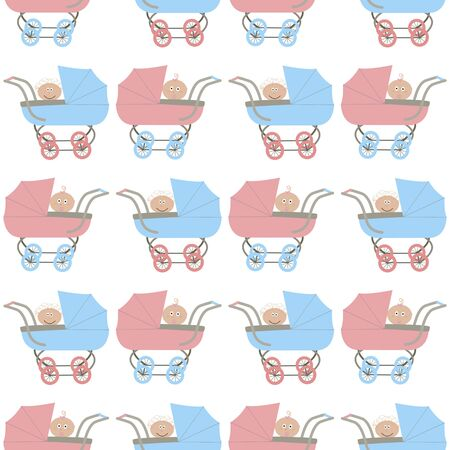 seamless pattern with strollers and baby Vector