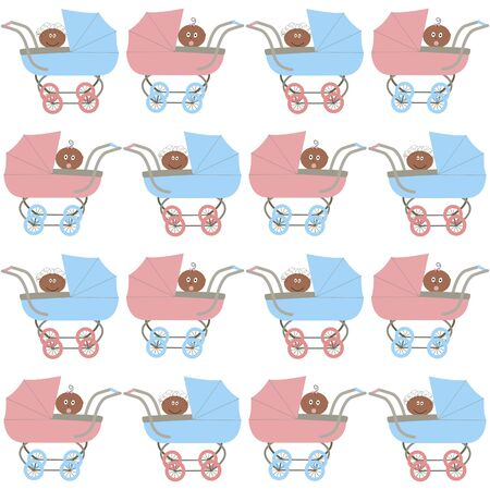 seamless pattern with strollers and afroamerican babys Vector