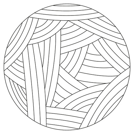 Vector illustration of wool ball. Isoleted clew, wool yarn. Vector illustration