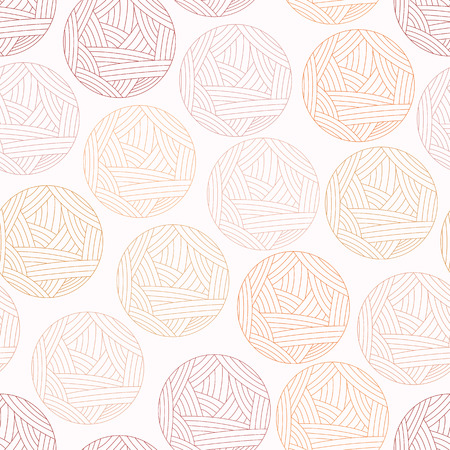 Vector illustration of background with wool ball, seamless pattern. Isoleted red clew, wool yarn. Vector illustration