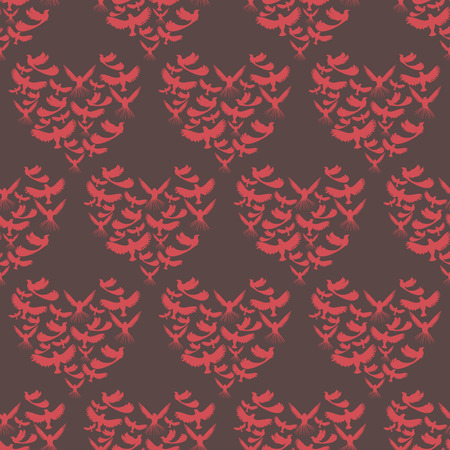 vector background,  seamless pattern withred  birds and harts elements, geometric design, vector illustration Illusztráció