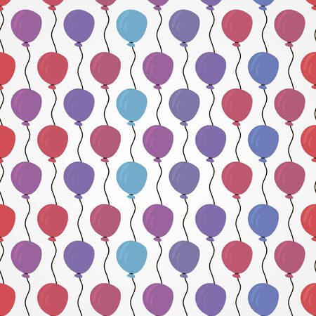 vector background, abstract seamless pattern with red, violet; blueballons, geometric design, vector illustration Illustration