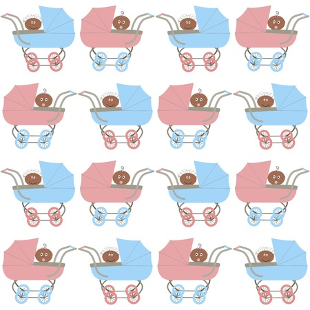 vector background,  seamless pattern with strollers and afroamerican babys - girl and boy, cartoon design, vector illustration Vector