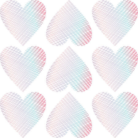 violet red: vector background,  seamless pattern with pink; blue; violet; red hearts, geometric design, vector illustration