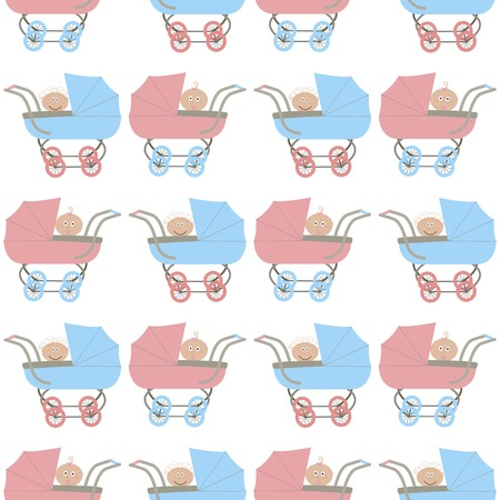 vector background,  seamless pattern with strollers and babys - girl and boy, cartoon design, vector illustration