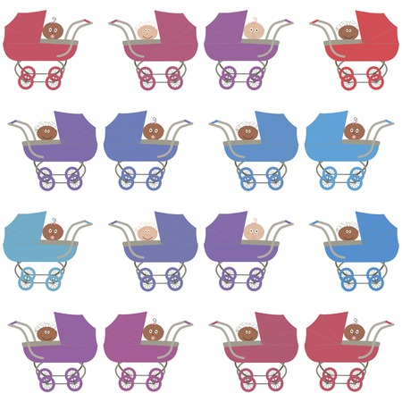 vector background,  seamless pattern with strollers, european and afroamerican babys - girl and boy, cartoon design, vector illustration Vector