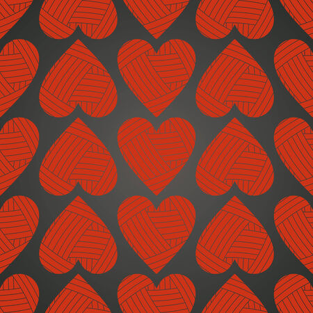 vector background,  seamless pattern with  red hearts, geometric design, vector illustration Vectores